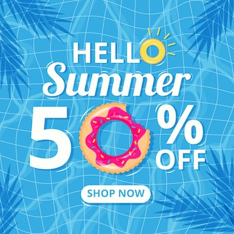 Flat design hello summer discount banner