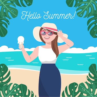 Flat design hello summer girl with beach hat