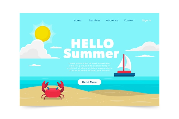 Flat design hello summer landing page