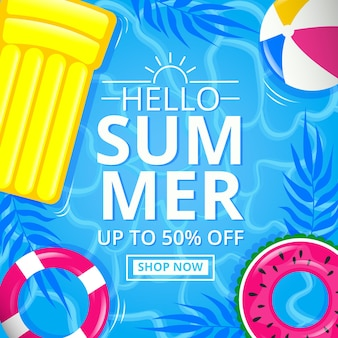 Flat design hello summer offer banner
