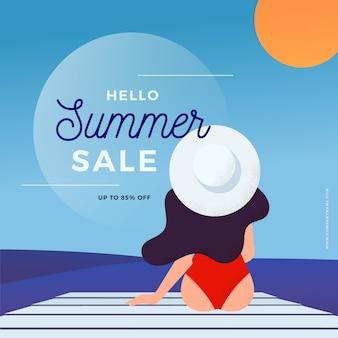 평면 디자인 안녕하세요 여름 판매 개념