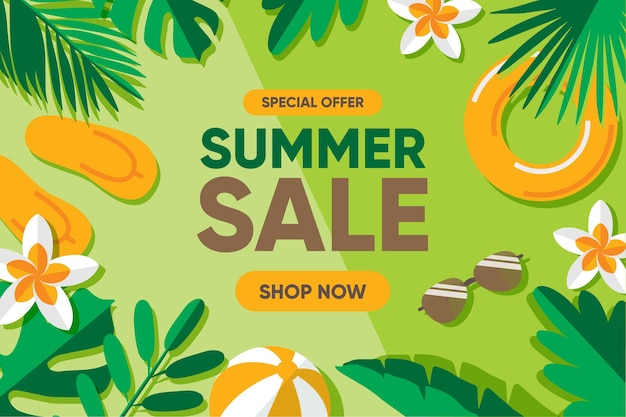 Flat design hello summer sale concept