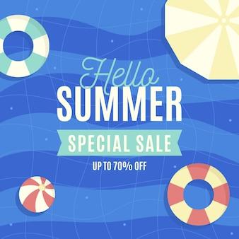 Flat design hello summer sale