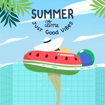 Flat design hello summer theme