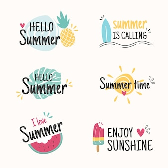 Flat design hello summer time label collection