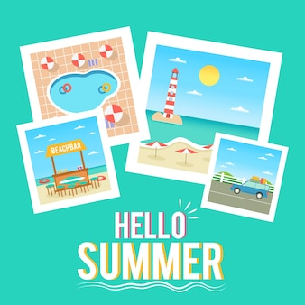 Flat design hello summer wallpaper
