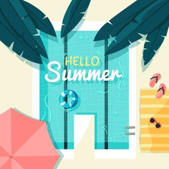 Flat design hello summer