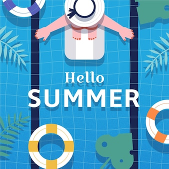 Flat design hello summer