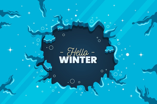 Flat design hello winter background