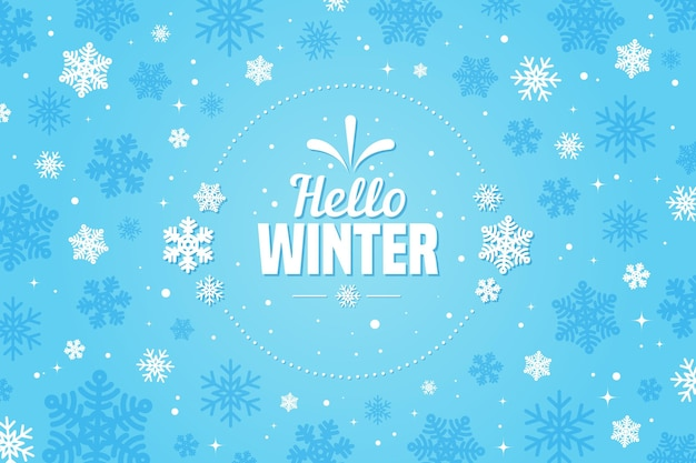 Flat design hello winter wallpaper