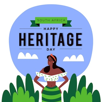 Flat design heritage day celebration