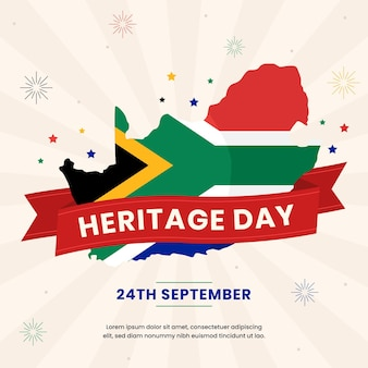 Flat design heritage day illustration with african flag and date