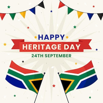 Flat design heritage day illustration with african flag