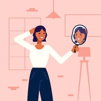フラットなデザインの女性との高い自尊心のイラスト