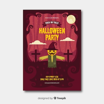 Flat design of hlalloween party flyer with scarecrow template