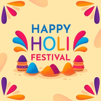 Flat design holi festival background
