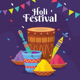 Flat design holi festival celebration