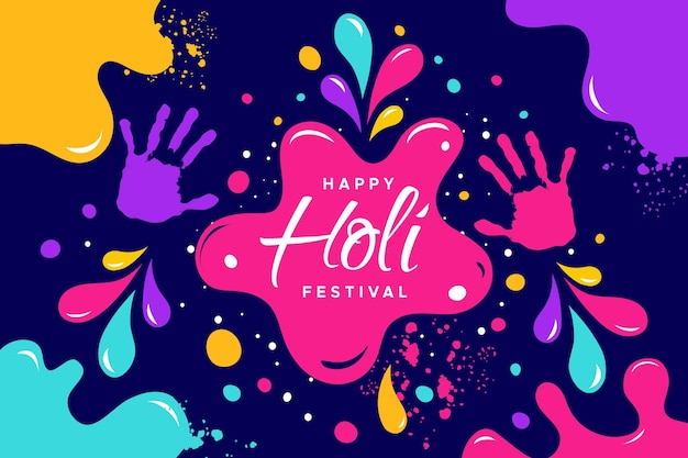 Celebrazione del festival holi design piatto