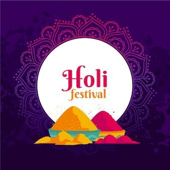 평면 디자인 holi 축제 개념