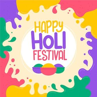 Flat design holi festival design