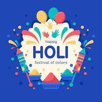 Flat design holi festival event celebration