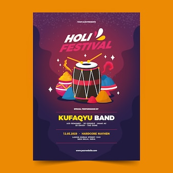 Flat design holi festival flyer template design