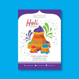 Flat design holi festival flyer template