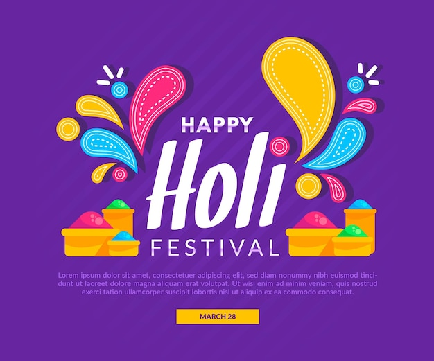 Flat design holi festival illustration