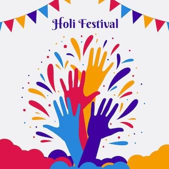 フラットデザインのホーリー祭のイラスト
