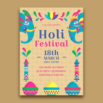 Flat design holi festival theme for flyer template