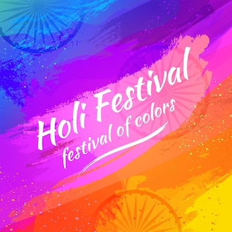 Flat design holi festival with lettering
