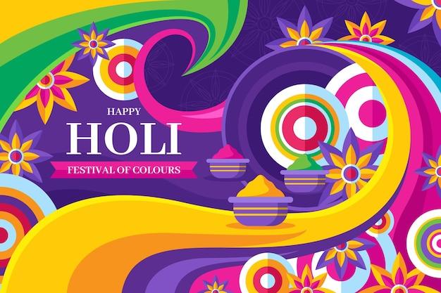 Flat design holi festival