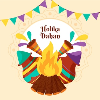 Flat design holika dahan illustration