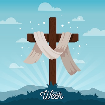 Flat design holy week concept