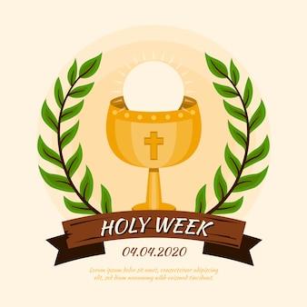 フラットなデザインの聖週間のコンセプト