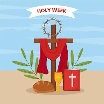 Illustrazione di settimana santa di design piatto