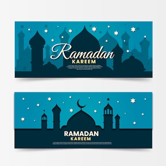 Плоский дизайн горизонтальных баннеров рамадана