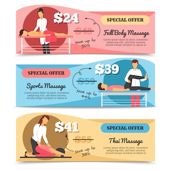 Flat design horizontal various types of massage and health care special offer banners isolated on wh