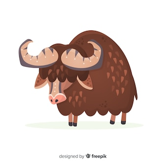 Flat design horned and brown buffalo
