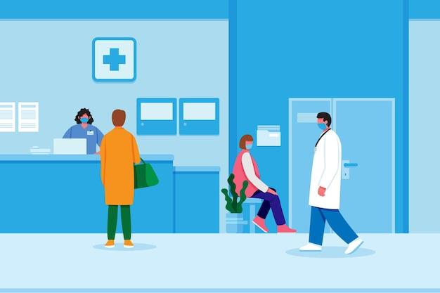 Scena di accoglienza ospedaliera design piatto