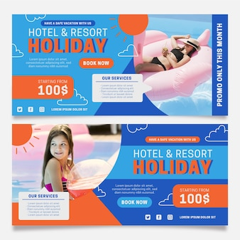 Flat design hotel banner template with photo