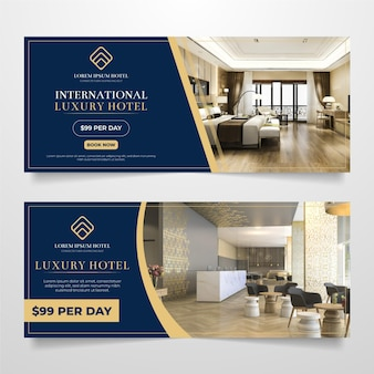 Flat design hotel banner template Free Vector