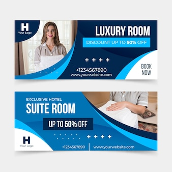 Flat design hotel banner with photo