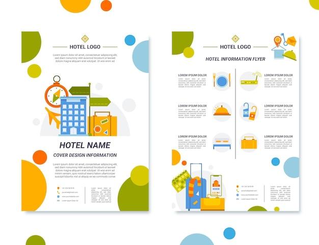 Modello di volantino informazioni hotel design piatto