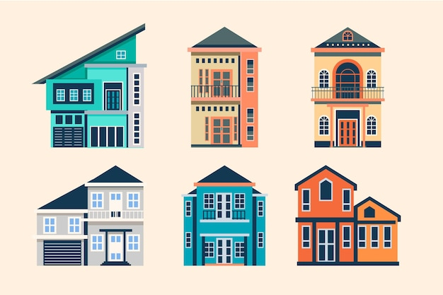 Flat design house collection template