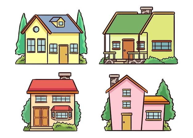 Плоский дизайн дома коллекции