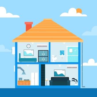 Flat design house in cross-section illustration