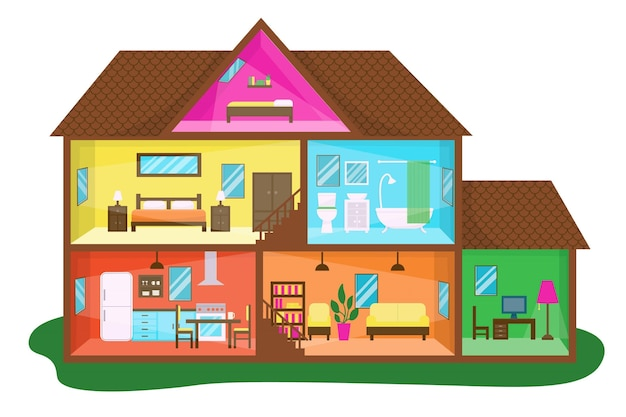 Flat design house in cross-section illustration