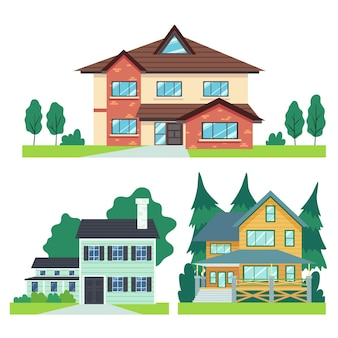 Flat design house illustrations collection