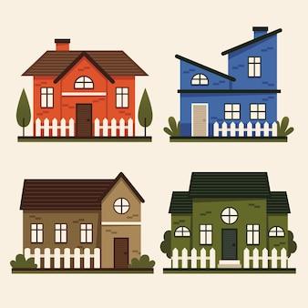 Flat design house illustrations pack
